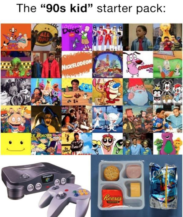 Someone came up with Starter Packs for different life scenarios - The 90's Kid Starter Pack