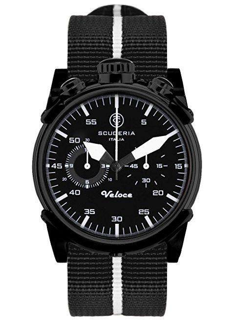 Scuderia CS10112 - Reloj cronógrafo de cuarzo para hombre, correa de tela color negro