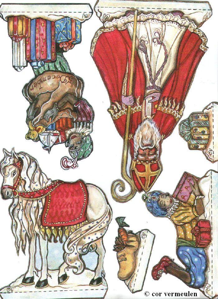 ~Nostalgische Sint en Piet plaatjes van Cor Vermeulen om uit te printen en te…