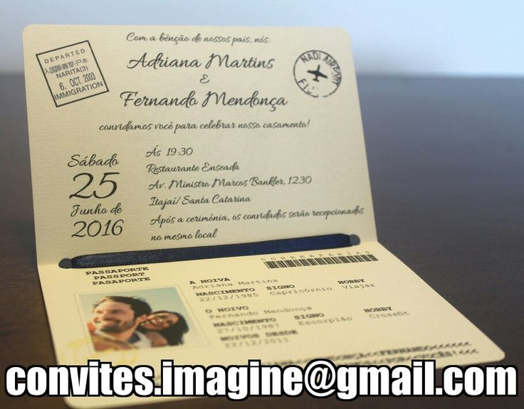 Convites de casamento criativos! Modelo passaporte