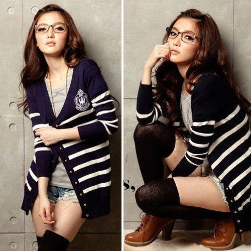 Free Shipping Striped V-Neck Long Sleeve Knit Navy Long Cardigan Sweater Girls Button Down 10% off $11.69