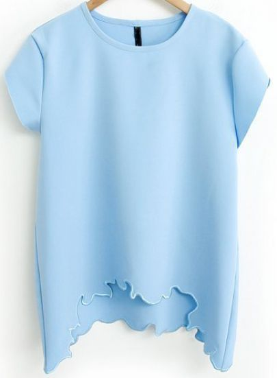 Blue Short Sleeve Asymmetrical Loose T-Shirt - Sheinside.com Mobile Site