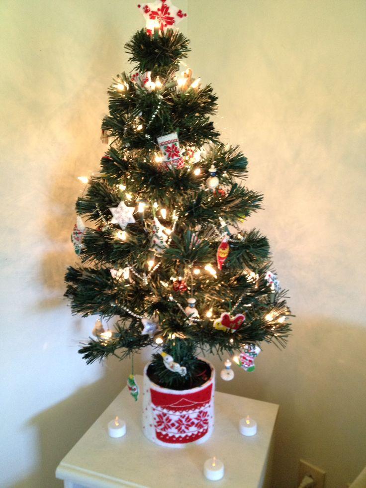 My mini Christmas tree with tiny felt ornaments from a Bucilla kit.