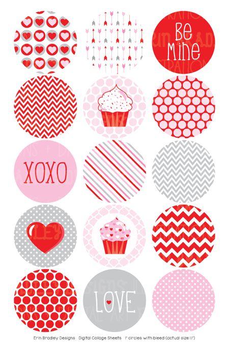Valentines Day Digital Bottle Cap Images – Erin Bradley/Ink Obsession Designs