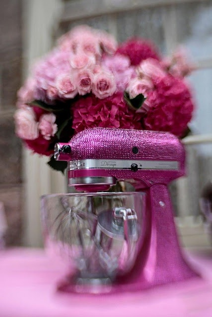 Mine's pink, but not blingy!!!  Would be hard to clean though ;0)