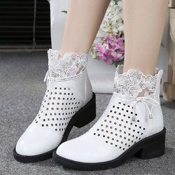 White Lace Chunky Heel Winter Casual Boot