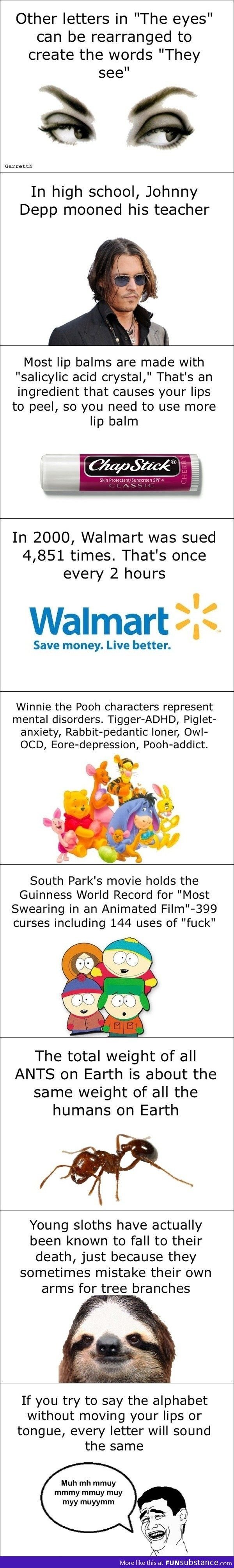 """Mind Blowing Facts."" These are the most mind-numbing, pointless tidbits I've ever encountered, anywhere. They're also wrong: no, A. A. Milne did not write Winnie as a poster child for addiction. I'm going to go listen to ""Return to Pooh's Corner"" until that's washed right out of my mind."