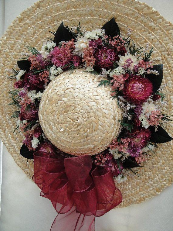 Dried Flower Straw Hat Arrangement by MorningMistDesigns on Etsy