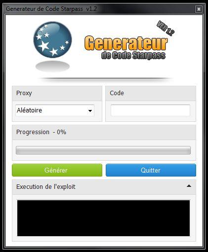 Le Generateur de Code Starpass est utilisé pour générer des codes uniques et fonctionnel