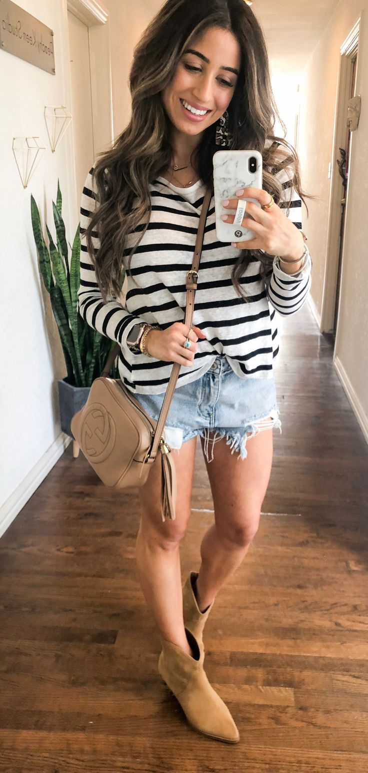 black and white striped sweatshirt #spring #outfits