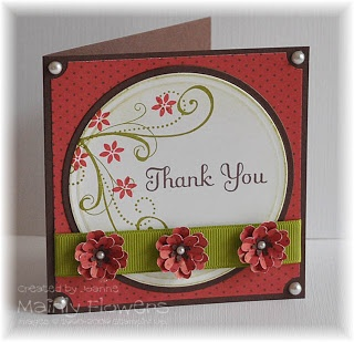 Mainly Flowers Independent Stampin' Up! Demonstrator Joanne Gelnar: Ruby and Chocolate Thank You Card