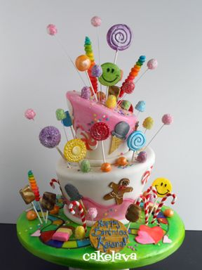 Yeekkkk!  THIS IS TOO FRICKIN' CUTE !!  wish I could make and bake something like this.....!      @Kathleen DeCosmo ♡♡ #Cakes♡♡   Candy Land Cake ~ love!