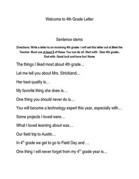 This is a list of sentence stems for current student to write a letter to the incoming students for the next school year. Set this out at Open House so the new students get a letter from the previous students.