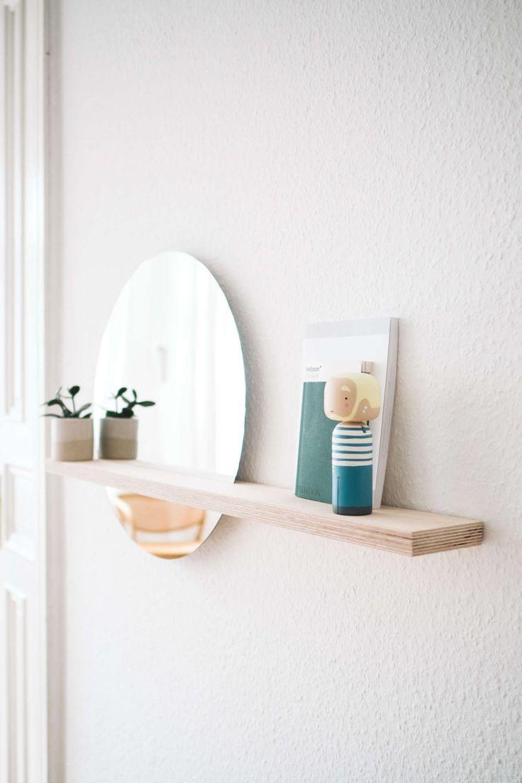 Werbung Erstellen Sie Ihr Minimalistisches Schwebendes Regal Mit Eingesetztem Spiegel Eingesetz Spiegel Mit Ablage Handgemachte Spiegel Regal Selber Machen