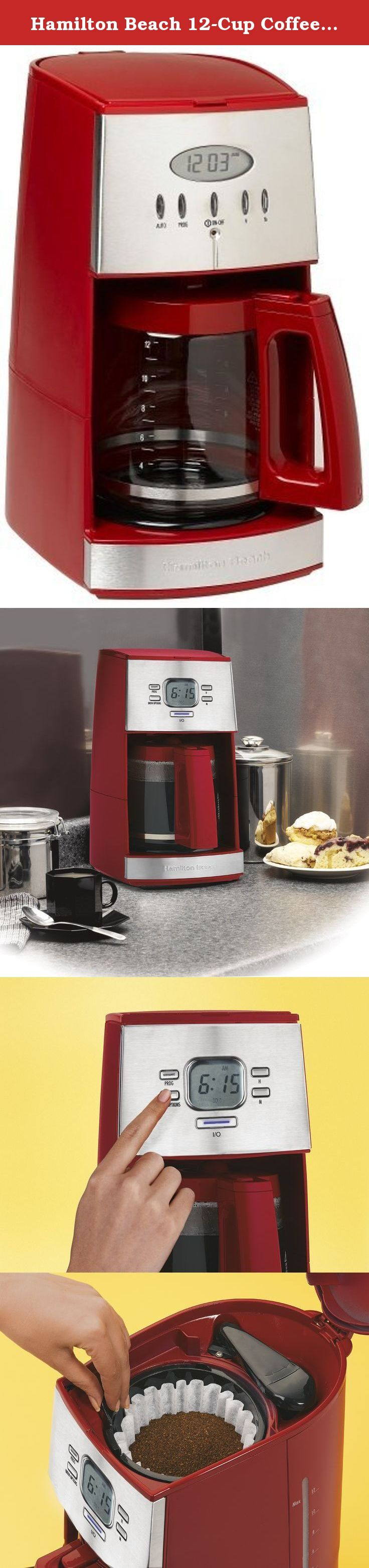 Hamilton Beach 12-Cup Coffee Maker with Glass Carafe, Ensemble Red (43253RA). With its sleek contemporary styling, this 12-cup coffeemaker not only looks good on the kitchen counter, but it also provides an array of convenient features. The machine's user-friendly control panel and digital display ensure ease of use, while its programmable clock/timer function allows for waking up to the aroma of freshly brewed coffee. A glass carafe comes included, complete with a stay-cool handle...