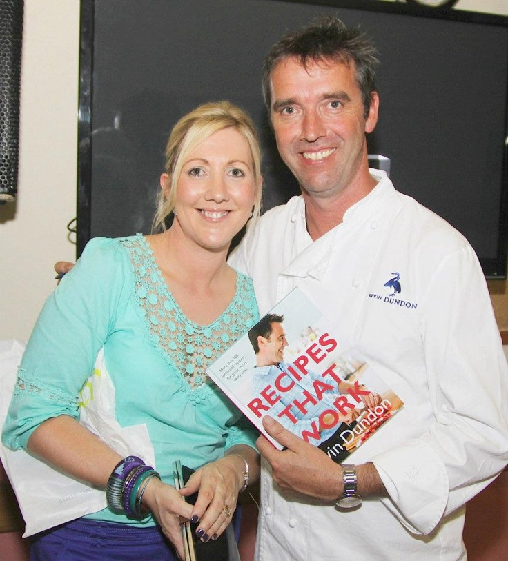 Ciara Mitchell pictured with Kevin Dundon after his Supper by the Sea Cookery Demo at the Ardmore Pattern Festival in Halla Dhéaghláin.Photo;Dan McGrath/Editorial images.  #munster #ireland #waterford