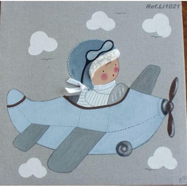 Cuadro artesanal - Niño con avión en celeste de bebe BB the countrybaby   Cuadros Artesanales para bebes