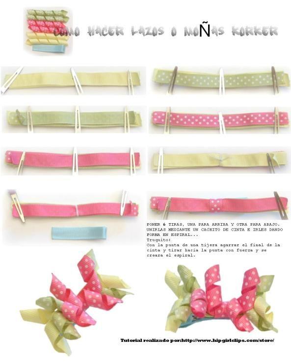 paso a paso para hacer rizos con cintas para moos o lazos