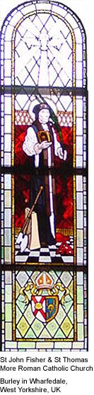 Bishop Fisher Stained Glass Window. St John Fisher & St Thomas  More Roman Catholic Church. Burley in Wharfedale, West Yorkshire, UK