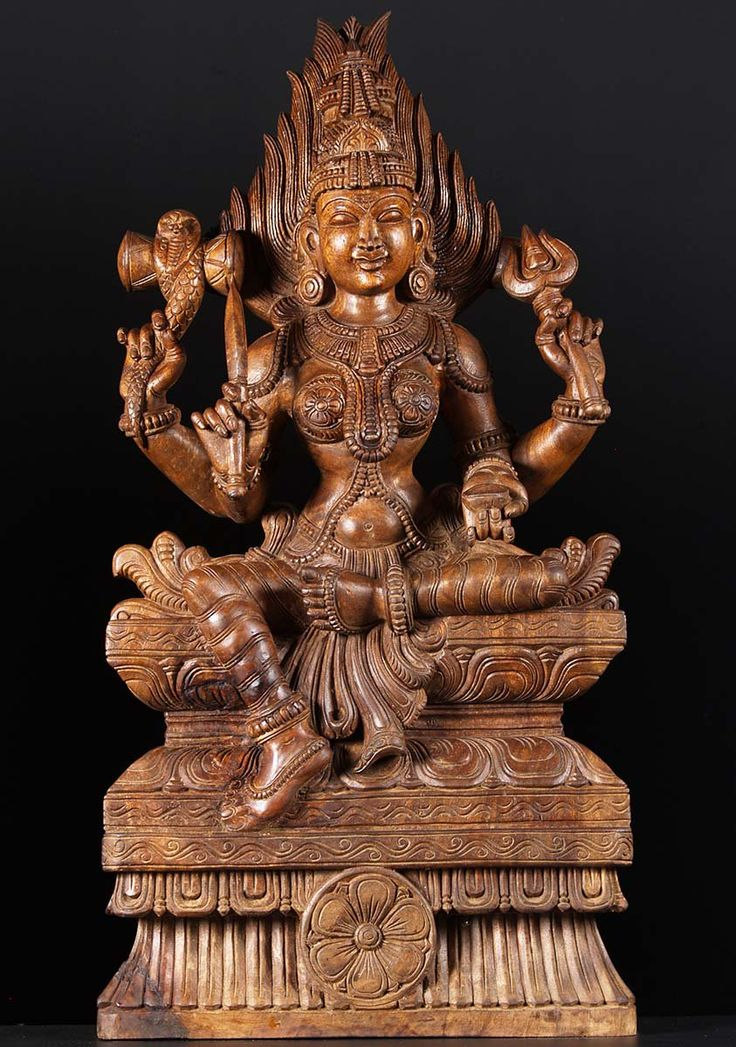 "LOTUS SCULPTURE SOLD Shakti Marriaman Wooden Carving 36"""