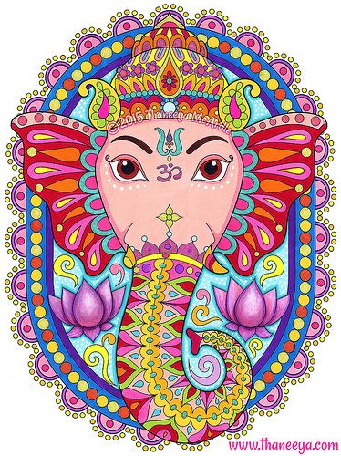 Ganesha Coloring Page by Thaneeya McArdle