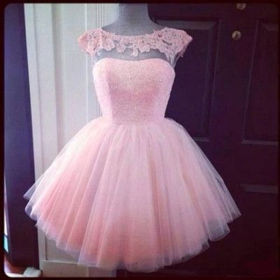 Short Pink Cap Sleeves Lace Prom Dress Cheap Homecoming Dresses Party Dresses…