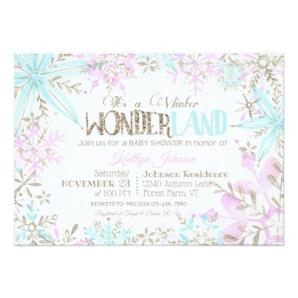 Winter Wonderland Snowflakes Sparkle Baby Shower Card - baby shower gifts  party giftidea