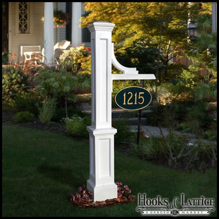 Outdoor Lamp Posts Front Yard, White Lamp Post With House Number
