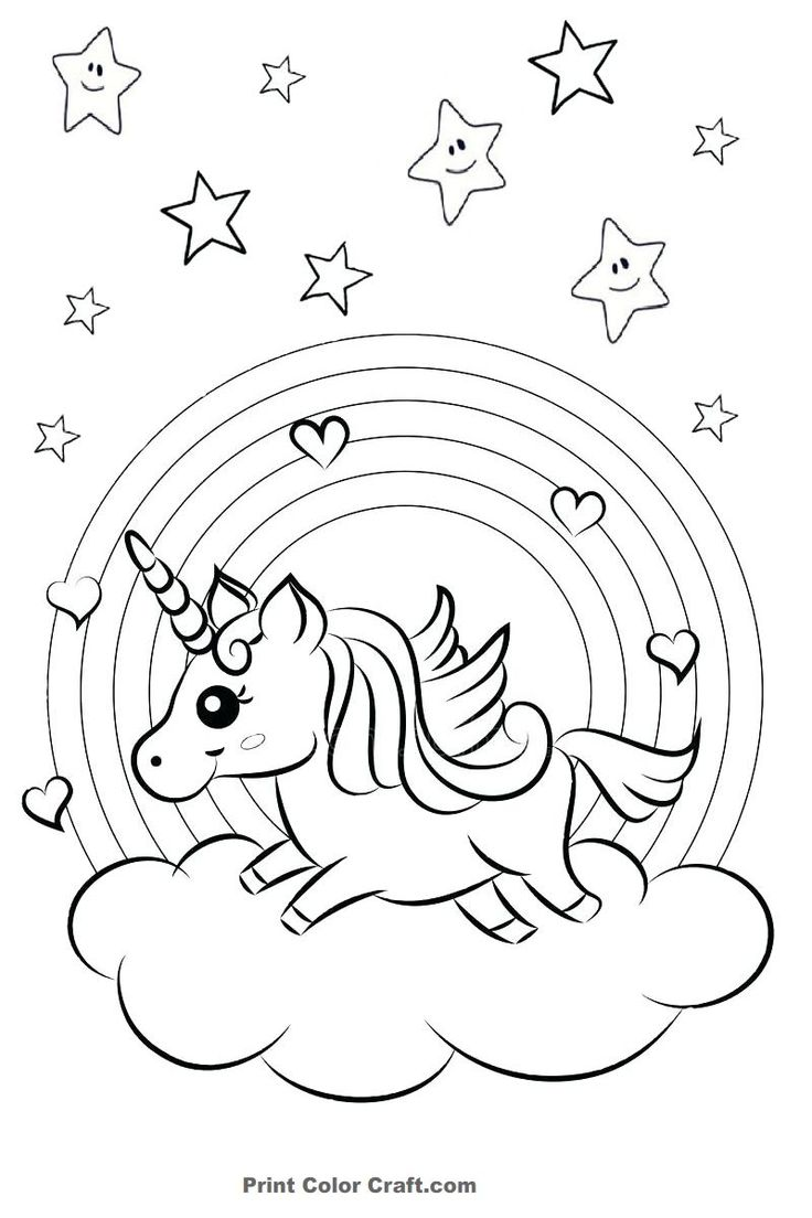 Rainbow and Hearts Colorful Unicorn Coloring Pages - Print ...