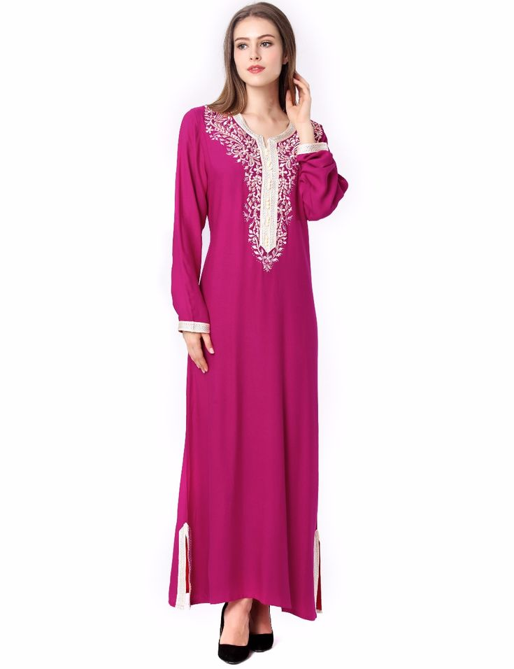 イスラム教徒の女性ロングスリーブドバイドレスマキシアバヤjalabiyaイスラム女性のドレス服ローブカフタンモロッコファッションembroidey1631