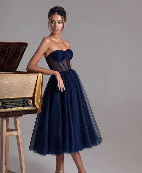 Navy Blue Corset Midi Dress In 2021 Ball Dresses Dresses Prom Party Dresses