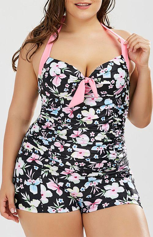 Plus Size Halter Underwire Floral One Piece Swimsuit