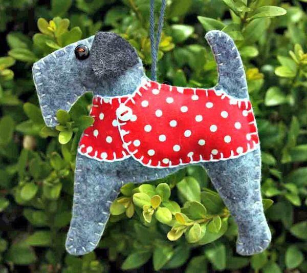 Dog Christmas ornament, terrier Stanley