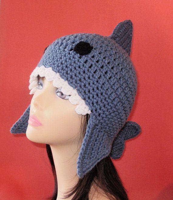 Crochet Pattern PDF Shark Earflap Hat. All Sizes by FunyCreation, $4.50
