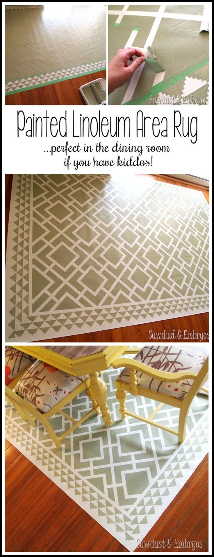 Paint a pattern onto a linoleum remnant to make a custom (and cheap!) area rug for the dining room! This os a MUST if you have little messy eaters!! {Reality Daydream}