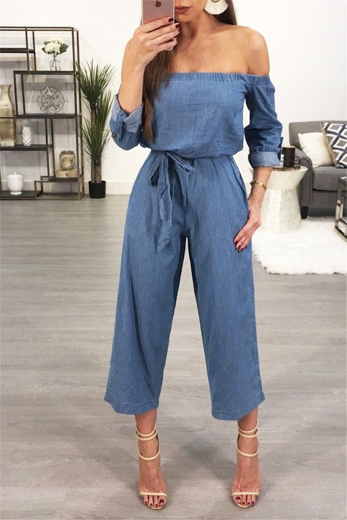 2ba90bb01a0a Off Shoulder Cotton Denim Wide Pant Leg Tie Waist All-in-One Jumpsuit –  WHATWEARS