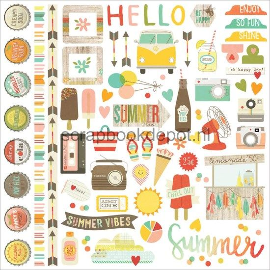 Simple Stories Summer Vibes - Fundamentals Cardstock Stickers