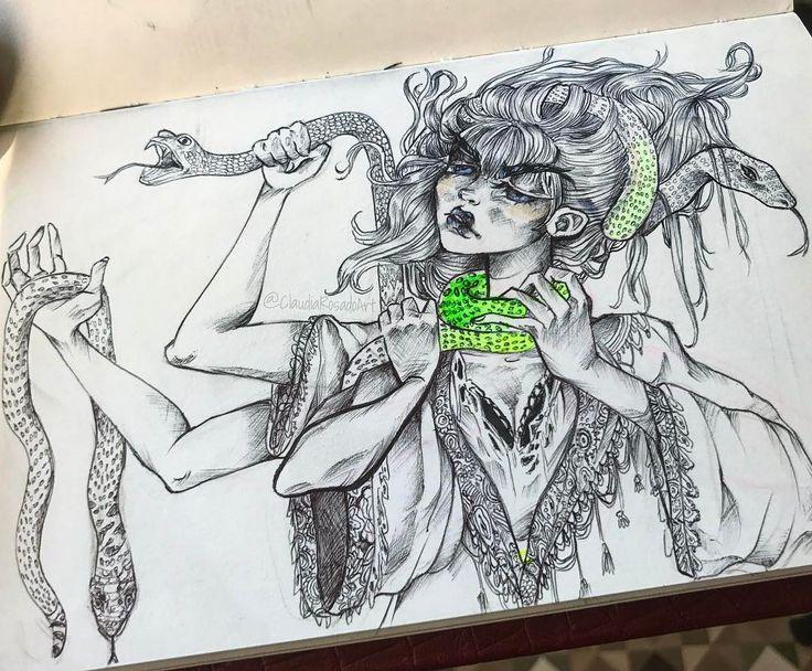 "2,361 Me gusta, 13 comentarios - Freelance Illustrator (@claudiarosadoart) en Instagram: ""Destroy what destroys you ✊🏼🐍 Ballpoint pen on a moleskine."""