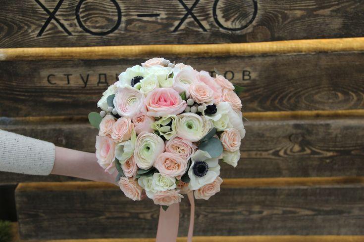 Букет невесты. Анемон, ранункулюс, садовая роза / The bride's bouquet. Anemone, Ranunculus, Garden Rose