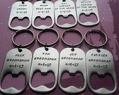 Spring Sale Set of 8 Custom Hand Stamped Keychains -  Bottle Opener - Wedding, Best Man, Groomsmen, Groomsman, Bridal Party