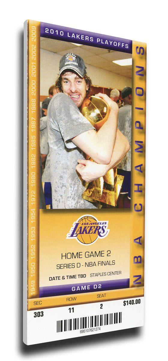 2010 NBA Finals Canvas Mega Ticket - Game 2, Gasol - Los Angeles Lakers