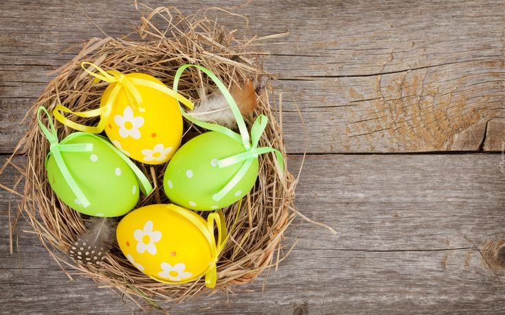 Wielkanoc, Koszyk, Zielone, Żółte, Pisanki, Deski