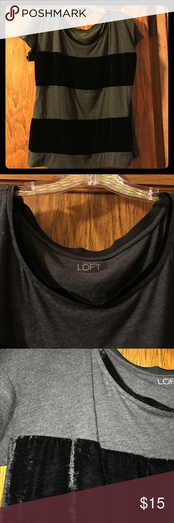 Black & grey short sleeve top with velvet detail. Black and dark grey short sleeve top with velvet stripes. Top is Cotton with velvet stripes on front. There is velvet detail on the neck as well. Back of top is cotton. See pictures for detail. Worn one time. Cared for well. Size medium from LOFT. LOFT Tops Tees - Short Sleeve