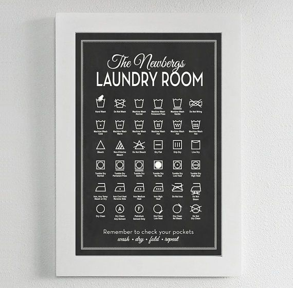 CUSTOMIZABLE Laundry Symbols print   by letteredandlined on Etsy, $28.00