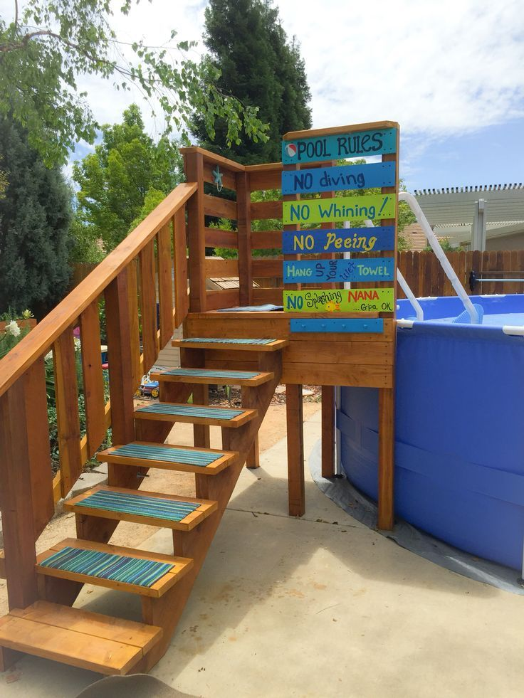 above ground pool entry deck with towel rack and storage hooks