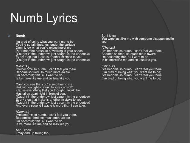 Image result for linkin park numb lyrics