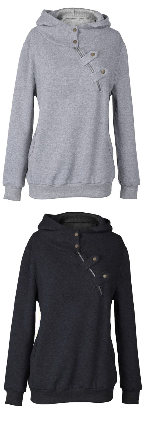 Take this Only $23.99, free shipping&easy return! This hoodie is detailed with inclined zipper/button ornamented&raglan sleeve. Find it at Cupshe.com