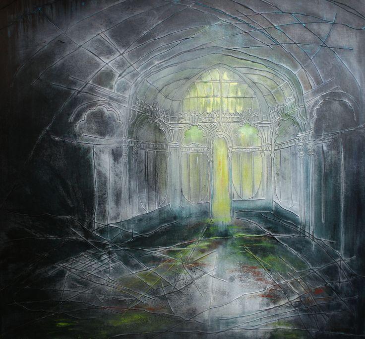 """""""The Narrow Door"""" ©Karen Goetzinger 30"""" x 30""""  thread and acrylic on stretched canvas www.karengoetzinger.com"""