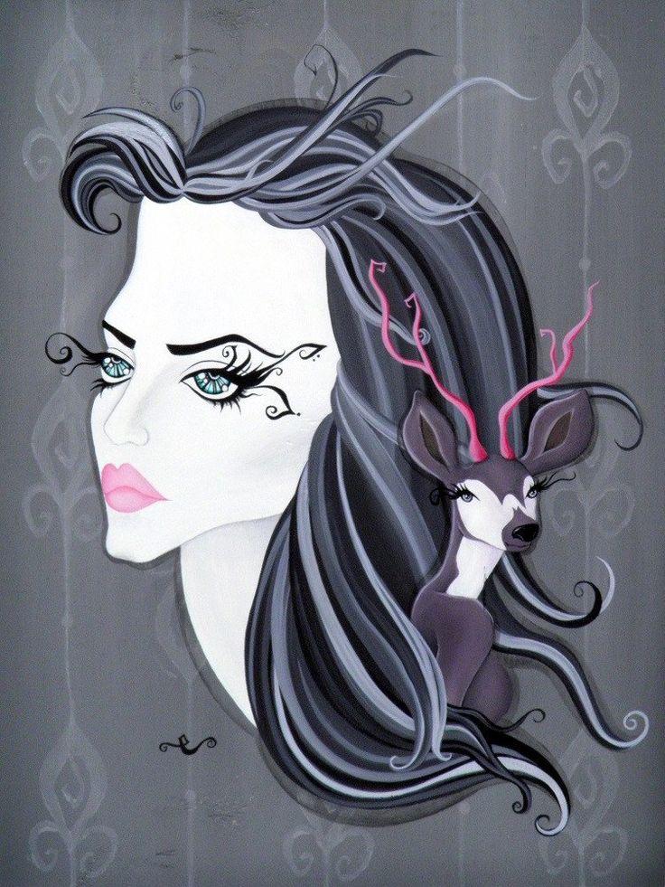 Elafi by Elaina Soto Goth Pop-Art Lowbrow Artwork Canvas Art Print – moodswingsonthenet