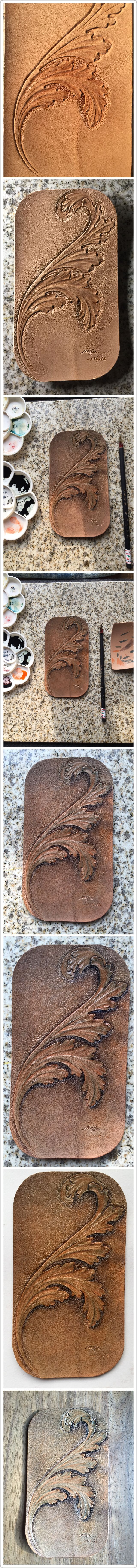 leather carved acanthus leaves(process)